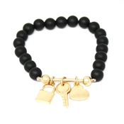Black Beaded Stretch Bracelet with Gold Locket, Key, and Heart Charms