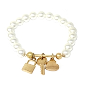 Pearl Beaded Stretch Bracelet with Gold Locket, Key, and Heart Charms