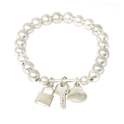 Silver Beaded Stretch Bracelet with Silver Locket, Key, and Heart Charms