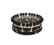 Black Crystal, Gold, and Rubber Set of 5 Stretch Bracelet