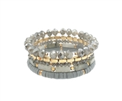 Grey Crystal, Gold, and Rubber Set of 5 Stretch Bracelet