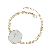 Gold Link Bracelet with White Natural Stone Hexagon Bracelet