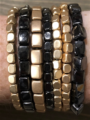 Gold and Black Nugget Set of 7 Bracelet