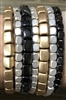 Gold, Silver, and Black Nugget Set of 7 Bracelet