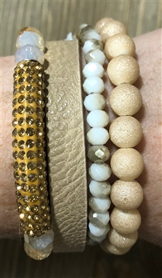 Stack it!  Set of 4 Cream Leather Snap and Cream/Champagne Crystal Stretch Bracelets