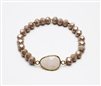 Brown Crystal Stretch Bracelet with Semi Precious Center Stone