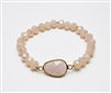 Pink Crystal Stretch Bracelet with Semi Precious Center Stone