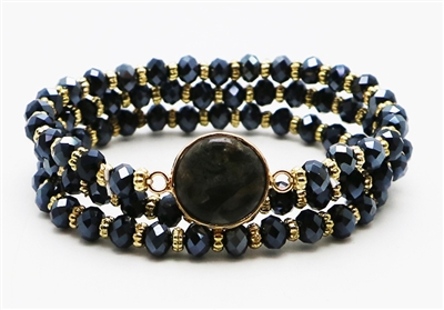 Set of 3 Black Crystal Stretch Bracelet with Black Semi Precious Stone Accent