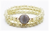 Set of 3 Natural Crystal Stretch Bracelet with  Semi Precious Stone Accent