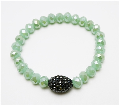 Mint Crystal Stretch Bracelet with Black Pave Accent