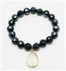 Navy Crystal Stretch Bracelet with Cream Stone Charm