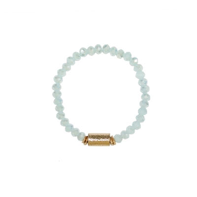 Mint Crystal Stretch Bracelet with Gold Bar