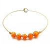 Orange Crystal Wire Wrapped Hinged Bracelet