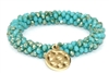 Green Crystal Woven Stretch Bracelet with Gold Charm
