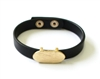 Black Leather Snap Bracelet with Gold Oval Accent