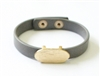 Grey Leather Snap Bracelet with Gold Oval Accent