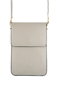 Grey Crossbody with Clear Window for Cell Phone
