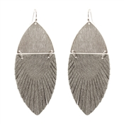 "Silver and Grey Cowhide Feather 2.5"" Earring"