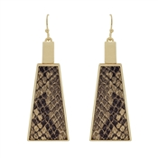 "Brown Snake Print Leather and Gold Triangle 2"" Earrings"