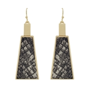 "Grey Snake Print Leather and Gold Triangle 2"" Earrings"