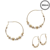 "Gold Hoop with Gold and Silver Metal Disc 1.5"" Earrings"