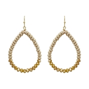 "Gold Nugget and Mustard Crystal 1.5"" Teardrop Earrings"