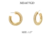 "Gold Fabric Textured Hoop 1.5"" Earring"