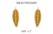 "Gold Leaf with Mustard Threading 3"" Earring"
