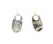 "Snake Print Pointed Oval 2"" Earrings"