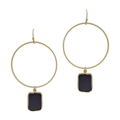 "Gold Circle with Black Rectangle 2"" Earring"