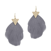 "Gold Triangle and Grey Feather 2.5"" Drop Earring"