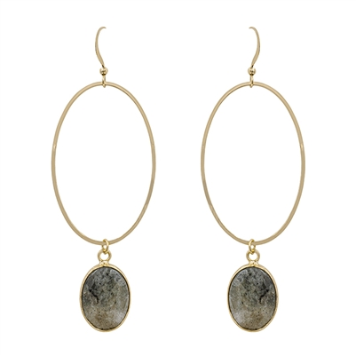 "Gold Oval with Grey Natural Stone 2"" Drop Earring"