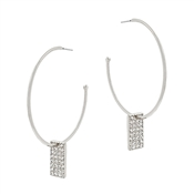 "Silver Hoop with Rhinestone Rectangle Drop 2"" Earring"