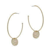 "Gold Hoop with Rhinestone Circle Drop 2"" Earring"