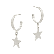 "Silver Hoop with Star Charm 1.5"" Earring"