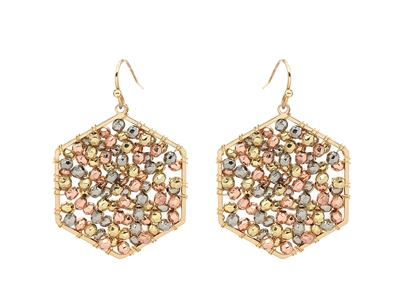 "Wire Wrapped Silver/Gold/Rose Gold Beaded Cluster Hexagon 1.25"" Earring"
