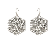 "Wire Wrapped Silver Beaded Cluster Hexagon 1.25"" Earring"