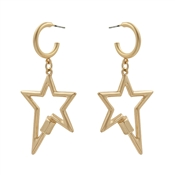 "Gold Hoop with Star 2"" Earring"