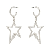 "Silver Hoop with Star 2"" Earring"