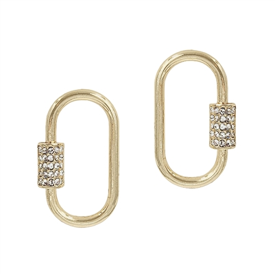 "Gold Stud with Rhinestone Carabiner 1"" Earring"