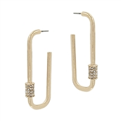 "Gold Oval Hoop with Rhinestone Carabiner 1.5"" Earring"