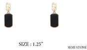 "Gold Stud Black Natural Stone Drop 1.5"" Earring"