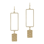 "Gold Open Rectangle with Rectangle Drop 2"" Earring"