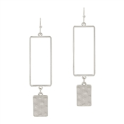 "Matte Silver Open Rectangle with Rectangle Drop 2"" Earring"