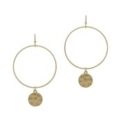 "Matte Gold Open Circle with Hammered Circle Drop 2"" Earring"