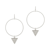 "Matte Silver Open Circle with Hammered Triangle Drop 2"" Earring"