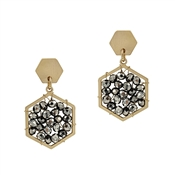 "Gold Hexagon Stud with Grey Crystal 1"" Earring"