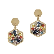 "Gold Hexagon Stud with Multi Crystal 1"" Earring"