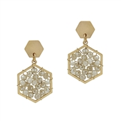 "Gold Hexagon Stud with Natural Crystal 1"" Earring"