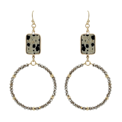 "Dalmatian Natural Stone on Crystal Circle 2.5"" Earring"
